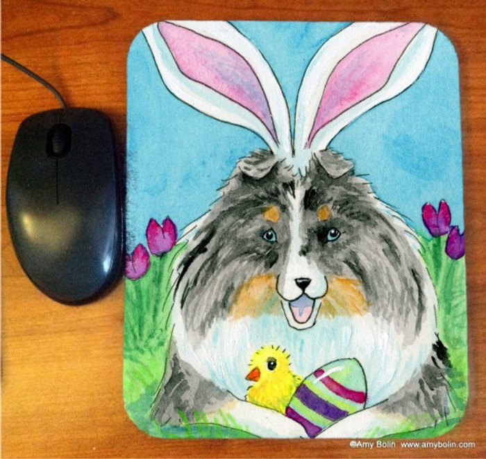 MOUSE PAD · EASTER SHELTIE · BLUE MERLE SHELTIE · AMY BOLIN