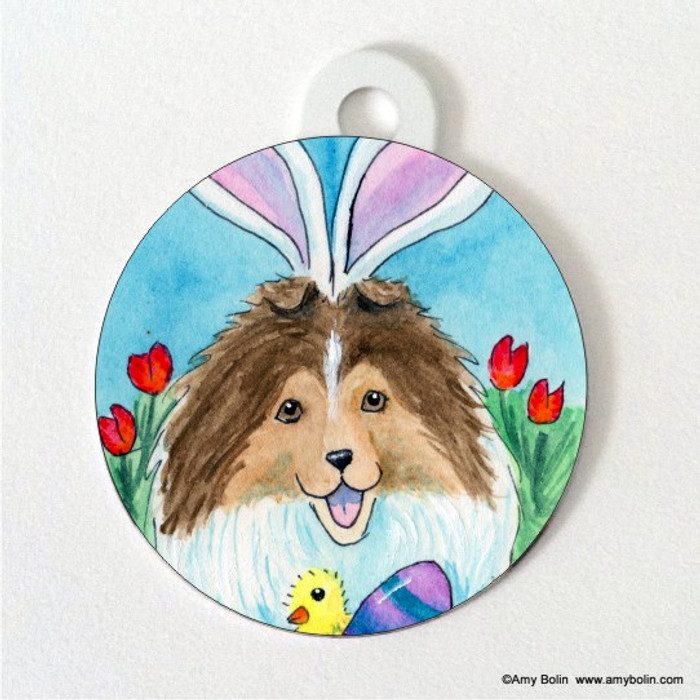 DOUBLE SIDED PET ID TAG · EASTER SHELTIE · SABLE SHELTIE · AMY BOLIN