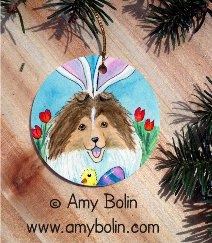 CERAMIC ORNAMENT · EASTER SHELTIE · SABLE SHELTIE · AMY BOLIN