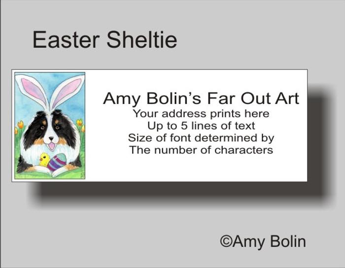 ADDRESS LABELS · EASTER SHELTIE · TRI COLOR SHELTIE · AMY BOLIN