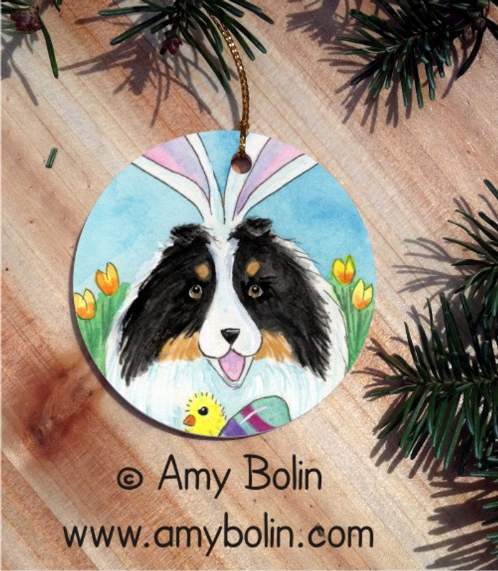 CERAMIC ORNAMENT · EASTER SHELTIE · TRI COLOR SHELTIE · AMY BOLIN