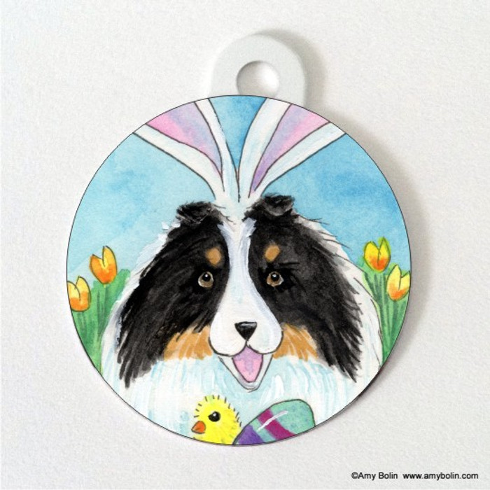DOUBLE SIDED PET ID TAG · EASTER SHELTIE · TRI COLOR SHELTIE · AMY BOLIN