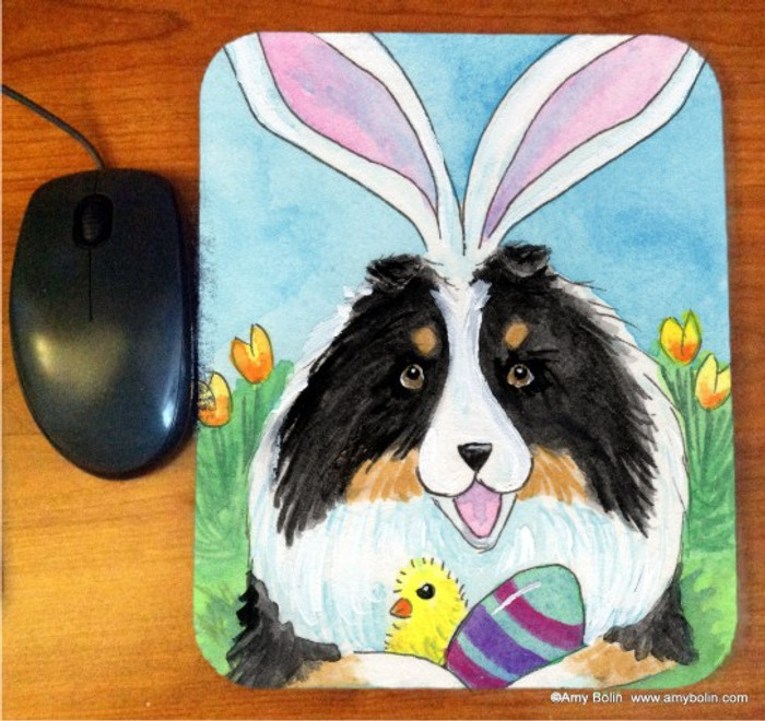 MOUSE PAD · EASTER SHELTIE · TRI COLOR SHELTIE · AMY BOLIN