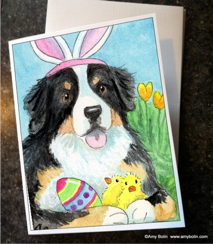 NOTE CARDS · EASTER BERNIE · BERNESE MOUNTAIN DOG · AMY BOLIN
