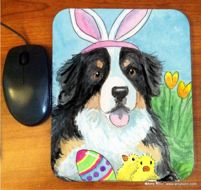 MOUSE PAD · EASTER BERNIE · BERNESE MOUNTAIN DOG · AMY BOLIN