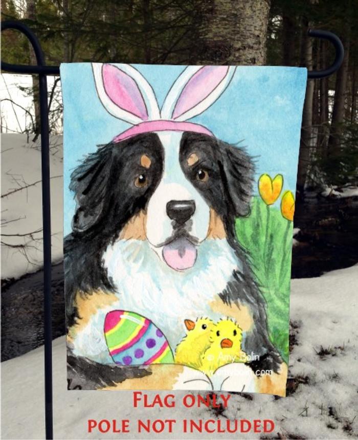 GARDEN FLAG · EASTER BERNIE · BERNESE MOUNTAIN DOG · AMY BOLIN