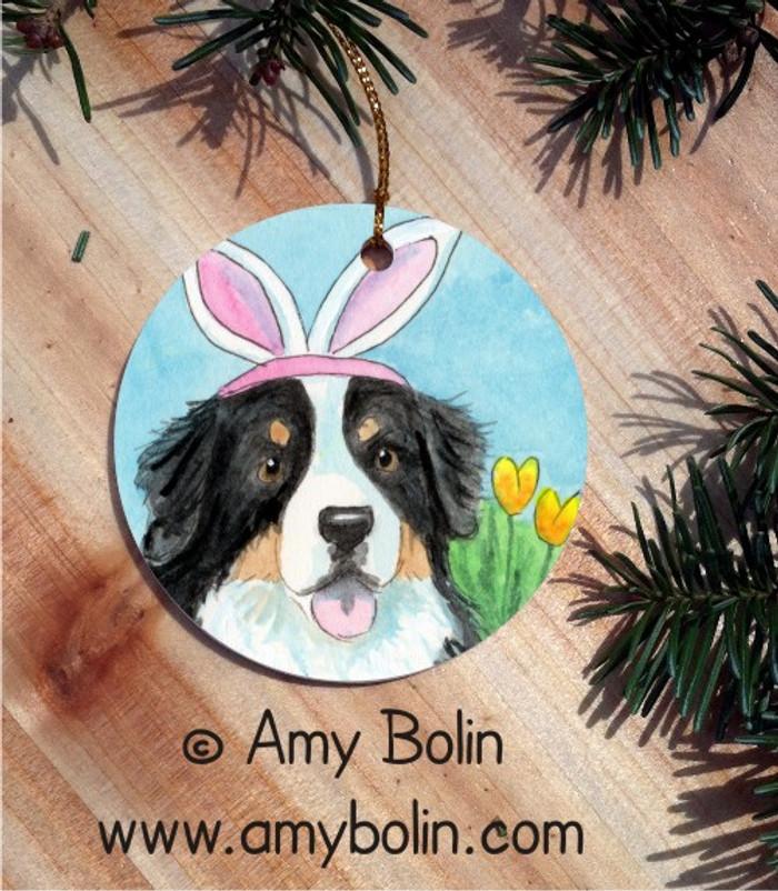 CERAMIC ORNAMENT · EASTER BERNIE · BERNESE MOUNTAIN DOG · AMY BOLIN