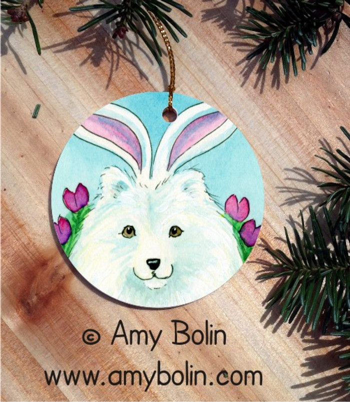 CERAMIC ORNAMENT · EASTER SAMMY · SAMOYED · AMY BOLIN