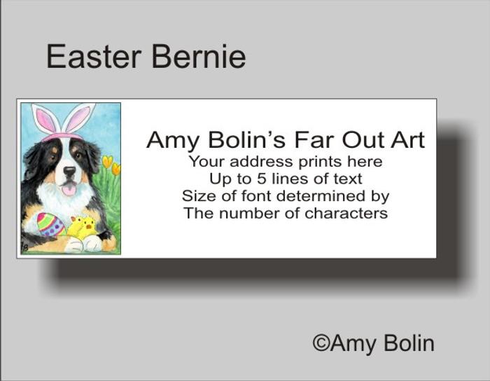 """Easter Bernie"" Bernese Mountain Dog Address Labels"