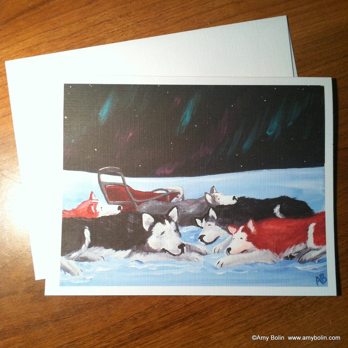 """Sweet Dreams"" Siberian Husky Note Cards"