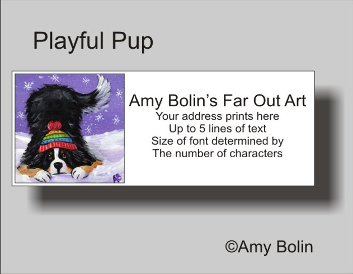"""Playful Pup"" Bernese Mountain Dog Address Labels"