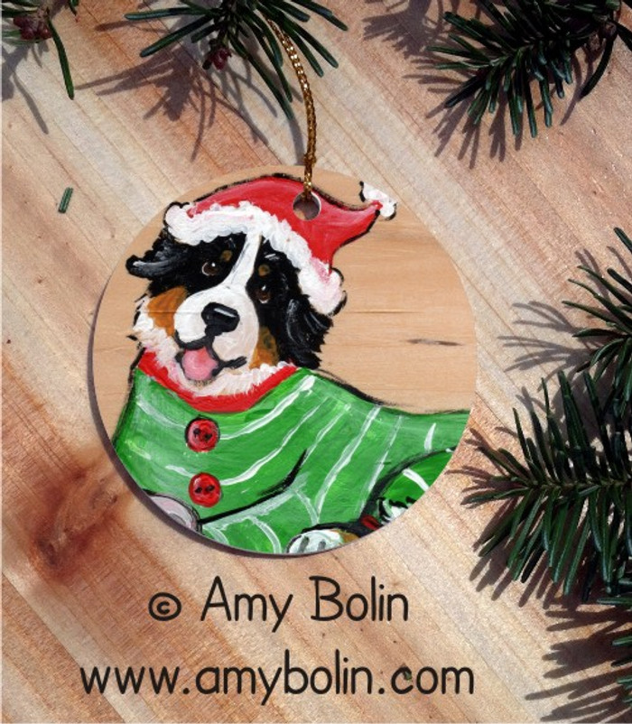 CERAMIC ORNAMENT · CHRISTMAS CUDDLIES · BERNESE MOUNTAIN DOG · AMY BOLIN