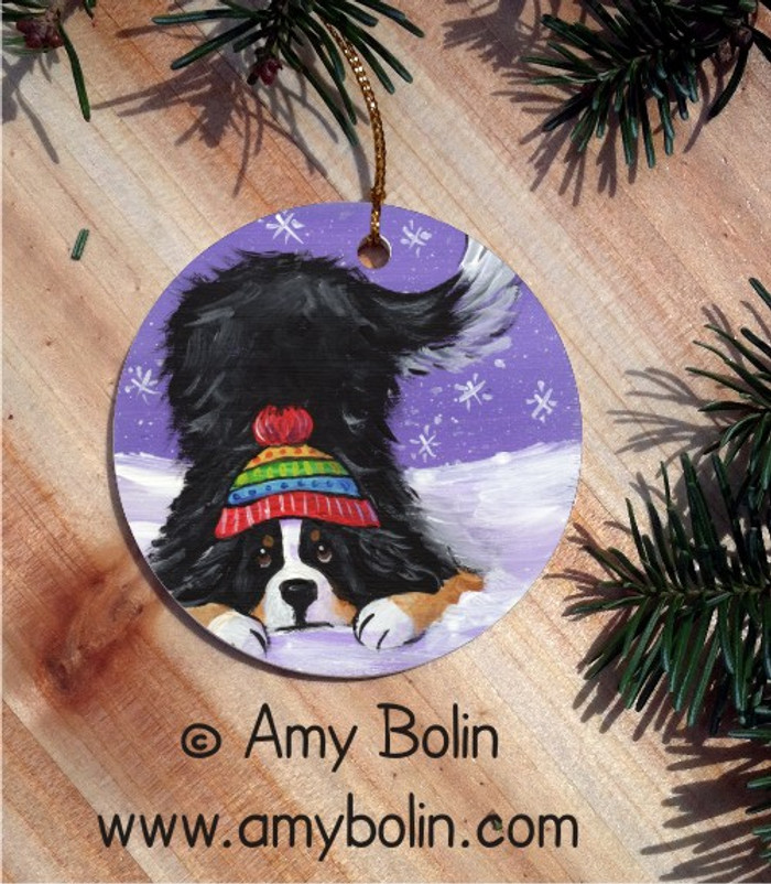 CERAMIC ORNAMENT · PLAYFUL PUP · BERNESE MOUNTAIN DOG · AMY BOLIN