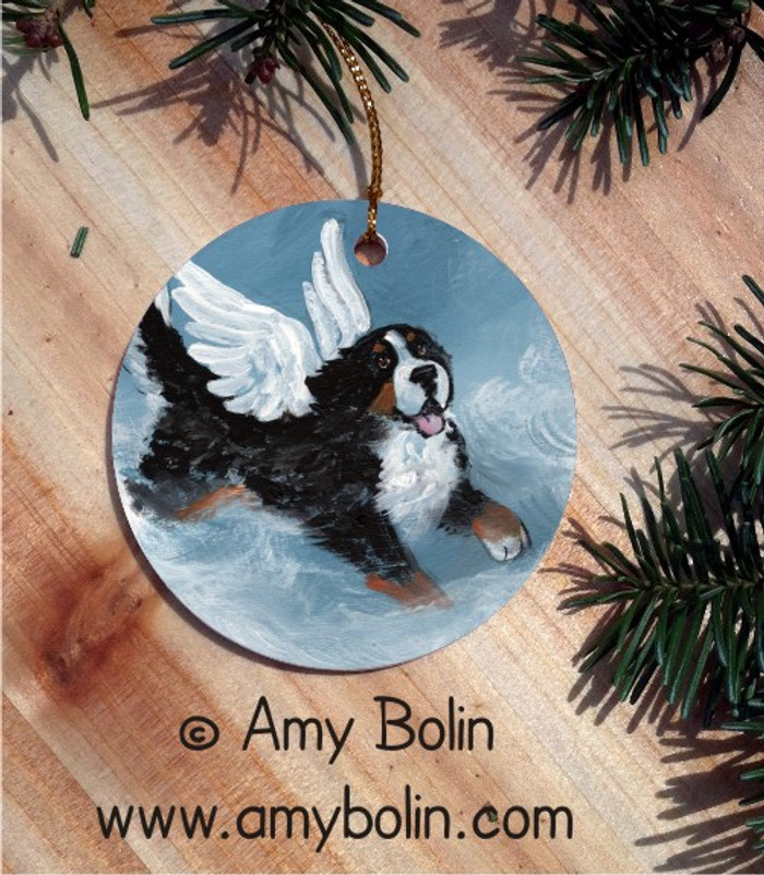 CERAMIC ORNAMENT · PLAYFUL ANGEL · BERNESE MOUNTAIN DOG · AMY BOLIN