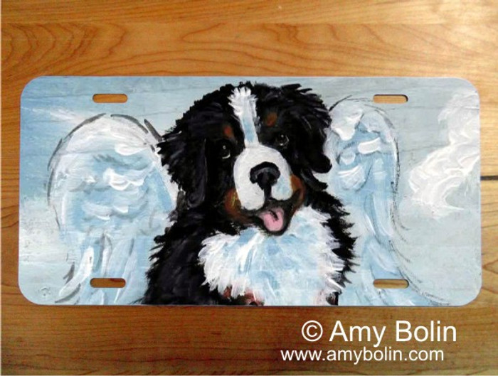 LICENSE PLATE · MY SWEET ANGEL · BERNESE MOUNTAIN DOG · AMY BOLIN