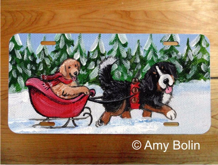 LICENSE PLATE · A WINTRY RIDE · BERNESE MOUNTAIN DOG, GOLDEN RETRIEVER · AMY BOLIN