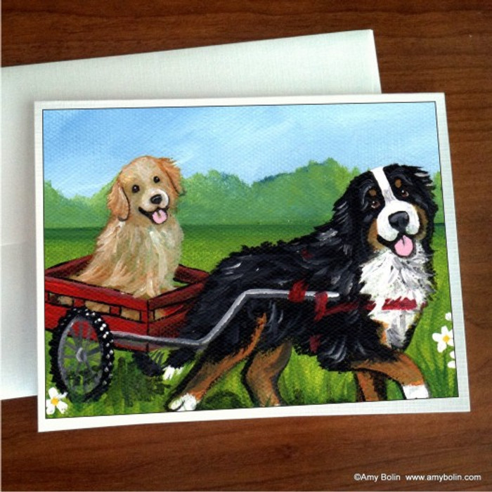 NOTE CARDS · TRAVELING BUDDIES · BERNESE MOUNTAIN DOG, GOLDEN RETRIEVER · AMY BOLIN
