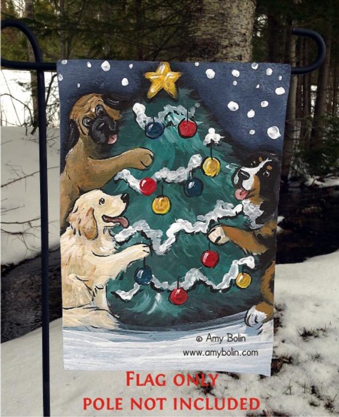 GARDEN FLAG · CHRISTMAS TOGETHER · BERNESE MOUNTAIN DOG, GOLDEN RETRIEVER, MASTIFF · AMY BOLIN