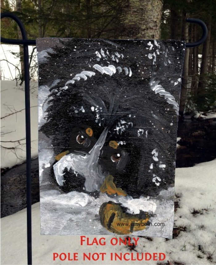 GARDEN FLAG · MY FIRST WINTER · BERNESE MOUNTAIN DOG · AMY BOLIN