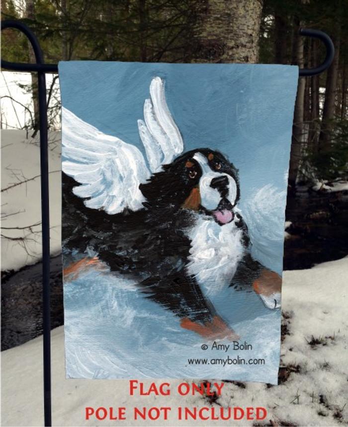 GARDEN FLAG · PLAYFUL ANGEL · BERNESE MOUNTAIN DOG · AMY BOLIN