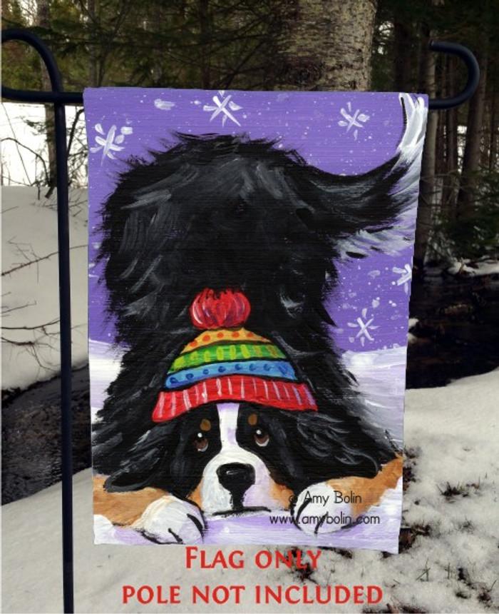 GARDEN FLAG · PLAYFUL PUP · BERNESE MOUNTAIN DOG · AMY BOLIN