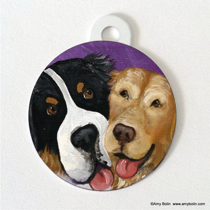 DOUBLE SIDED PET ID TAG · BE MINE · BERNESE MOUNTAIN DOG, GOLDEN RETRIEVER · AMY BOLIN