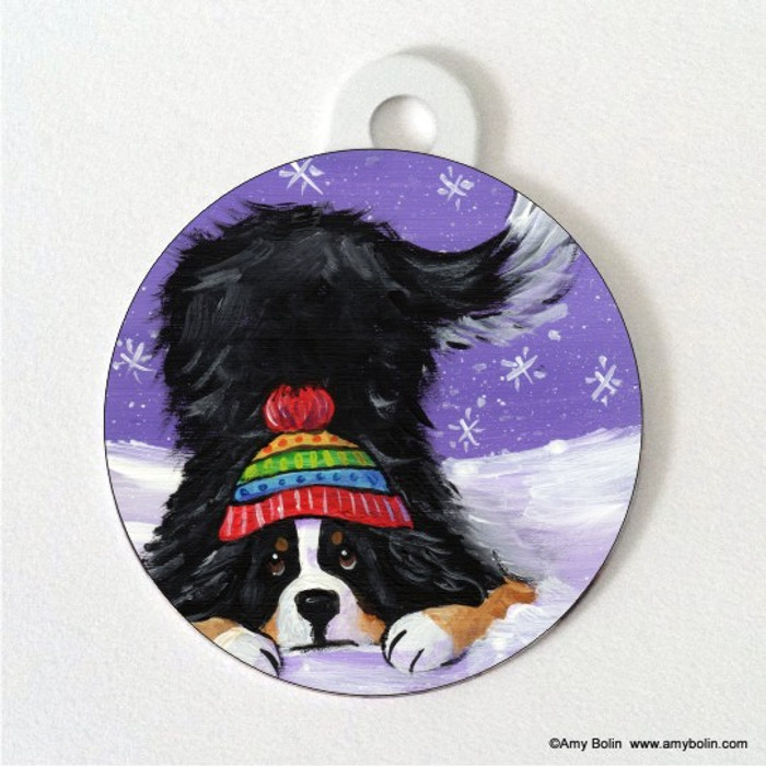 DOUBLE SIDED PET ID TAG · PLAYFUL PUP · BERNESE MOUNTAIN DOG · AMY BOLIN