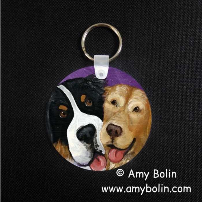 KEY CHAIN · BE MINE · BERNESE MOUNTAIN DOG, GOLDEN RETRIEVER  · AMY BOLIN