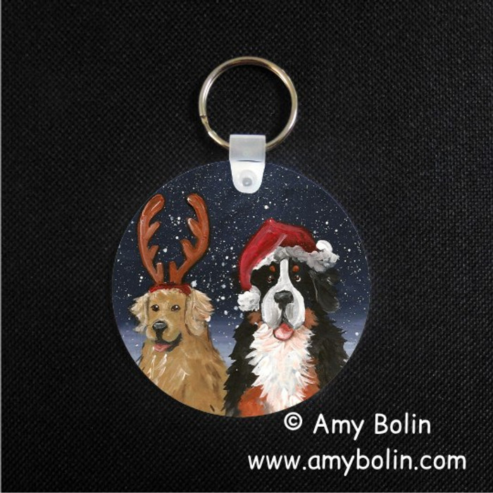 KEY CHAIN · CHRISTMAS BUDDIES · BERNESE MOUNTAIN DOG, GOLDEN RETRIEVER  · AMY BOLIN