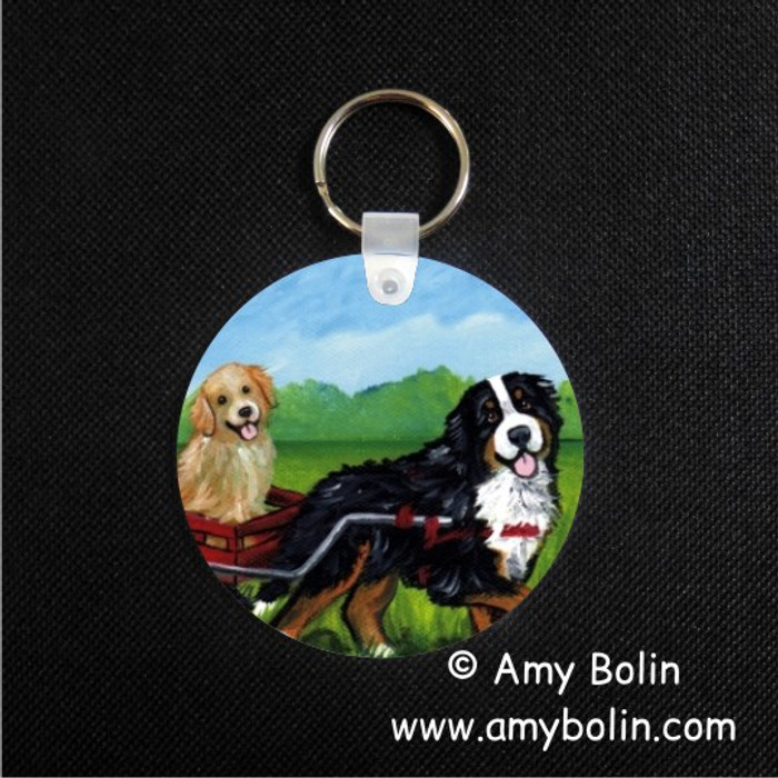KEY CHAIN · TRAVELING BUDDIES · BERNESE MOUNTAIN DOG, GOLDEN RETRIEVER · AMY BOLIN