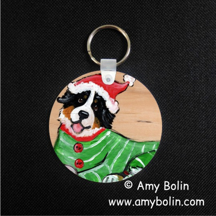 KEY CHAIN · CHRISTMAS CUDDLIES · BERNESE MOUNTAIN DOG · AMY BOLIN