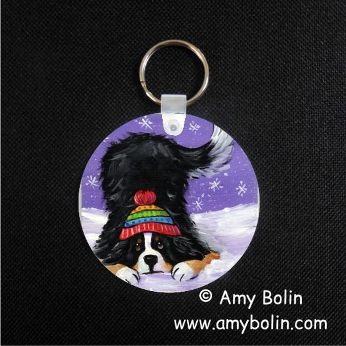 KEY CHAIN · PLAYFUL PUP · BERNESE MOUNTAIN DOG · AMY BOLIN