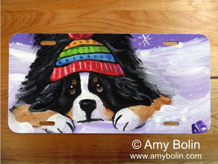 LICENSE PLATE · PLAYFUL PUP · BERNESE MOUNTAIN DOG · AMY BOLIN