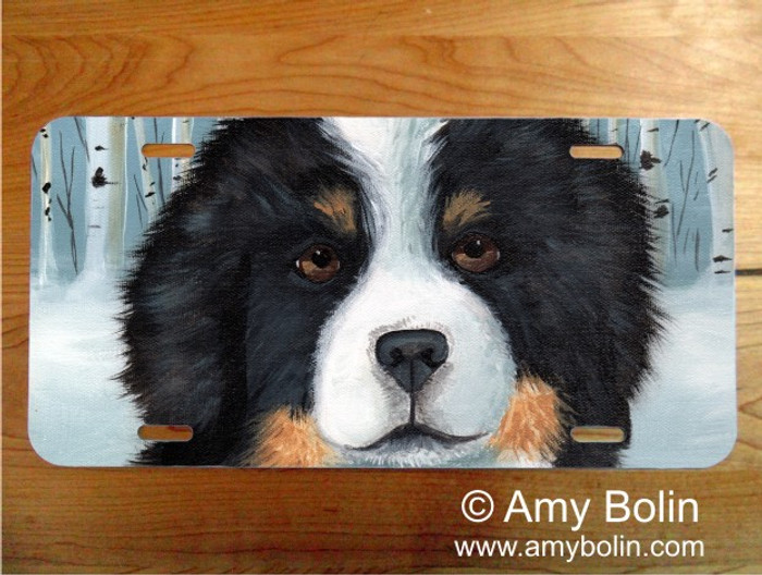 LICENSE PLATE · PUPPY EYES · BERNESE MOUNTAIN DOG · AMY BOLIN
