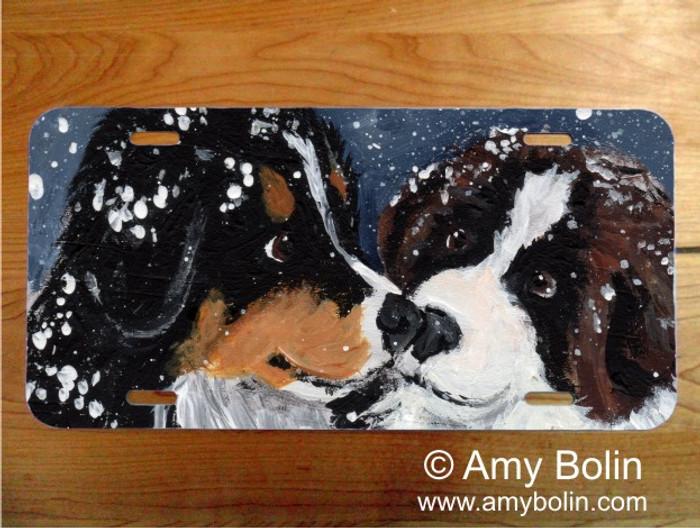 LICENSE PLATE · PUPPY KISSES · BERNESE MOUNTAIN DOG, SAINT BERNARD · AMY BOLIN