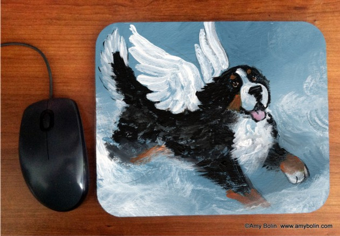 MOUSE PAD · PLAYFUL ANGEL · BERNESE MOUNTAIN DOG · AMY BOLIN