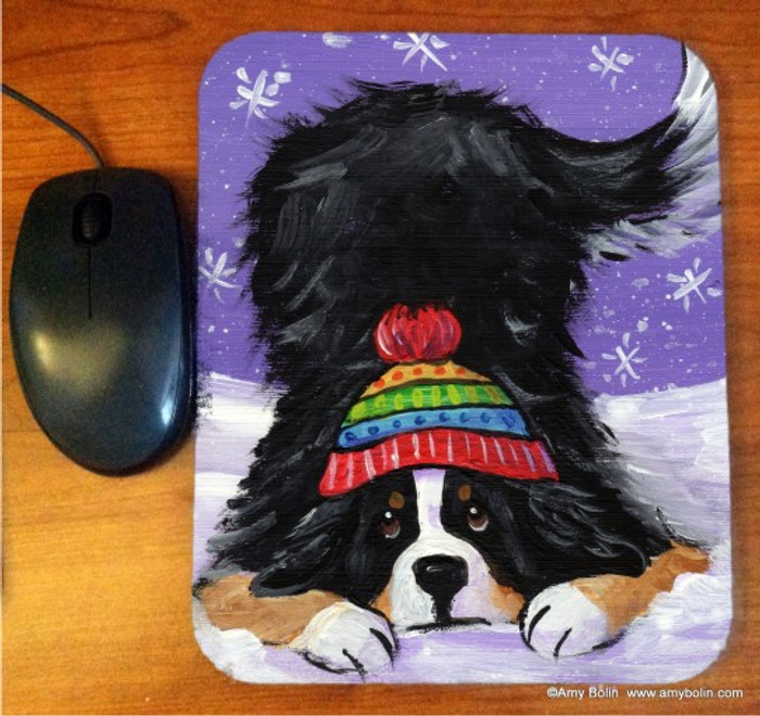 MOUSE PAD · PLAYFUL PUP · BERNESE MOUNTAIN DOG · AMY BOLIN