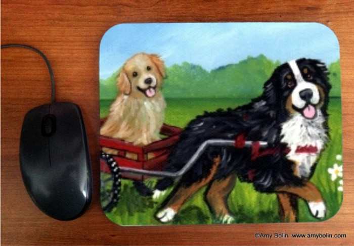 MOUSE PAD · TRAVELING BUDDIES · BERNESE MOUNTAIN DOG, GOLDEN RETRIEVER · AMY BOLIN