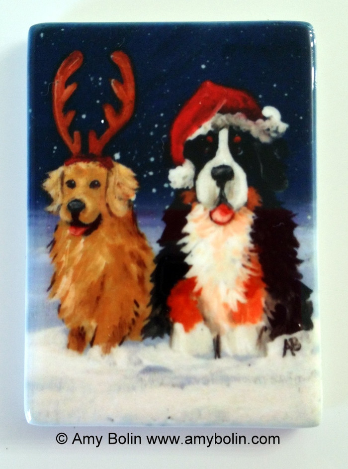 MAGNET · CHRISTMAS BUDDIES · BERNESE MOUNTAIN DOG, GOLDEN RETRIEVER · AMY BOLIN