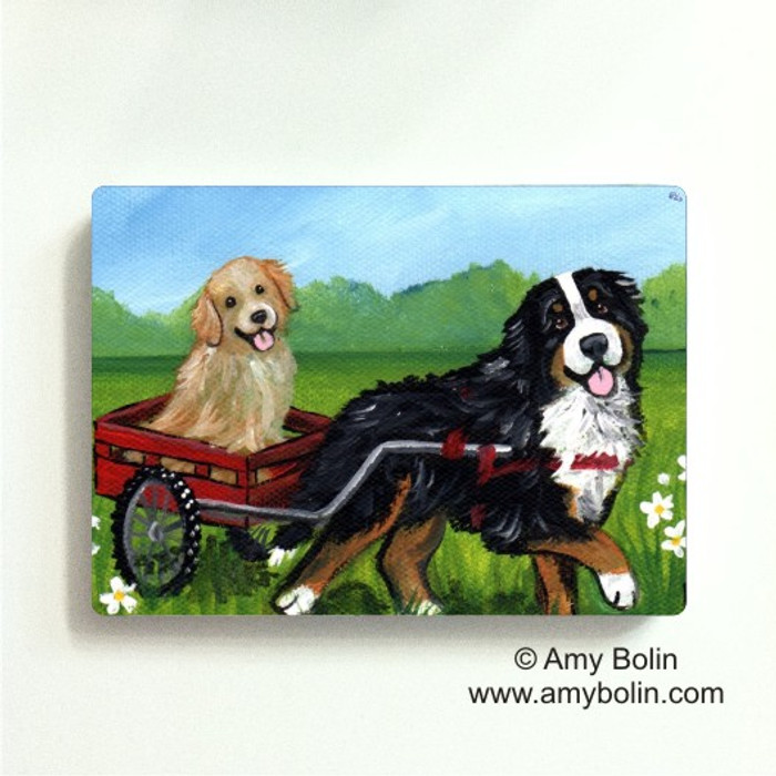 MAGNET · TRAVELING BUDDIES · BERNESE MOUNTAIN DOG, GOLDEN RETRIEVER · AMY BOLIN