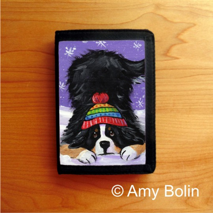 TRIFOLD WALLET · PLAYFUL PUP · BERNESE MOUNTAIN DOG · AMY BOLIN