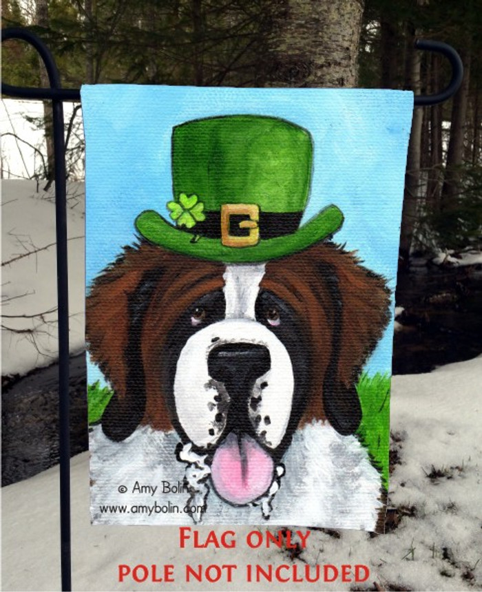 GARDEN FLAG · A BIG, WET IRISH KISS · SAINT BERNARD · AMY BOLIN