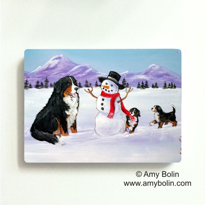 MAGNET · OUR SNOWY FRIEND · BERNESE MOUNTAIN DOG · AMY BOLIN