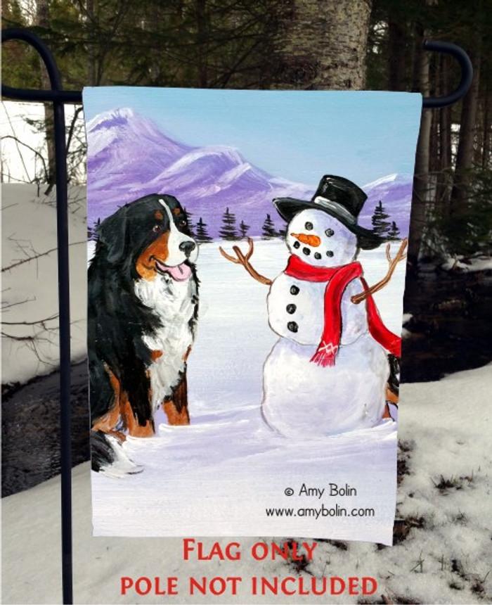 GARDEN FLAG · OUR SNOWY FRIEND · BERNESE MOUNTAIN DOG · AMY BOLIN
