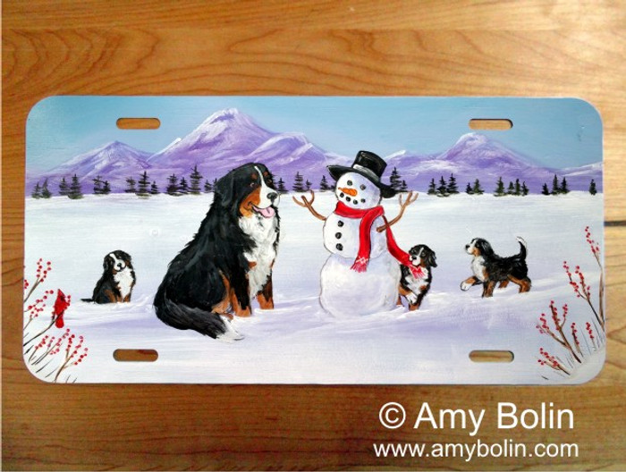 LICENSE PLATE · OUR SNOWY FRIEND · BERNESE MOUNTAIN DOG · AMY BOLIN