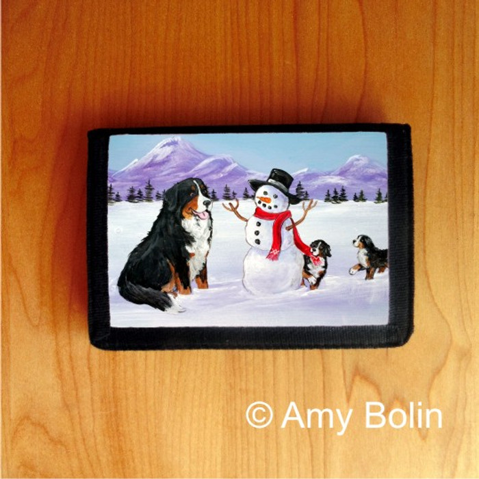 TRIFOLD WALLET · OUR SNOWY FRIEND ·BERNESE MOUNTAIN DOG · AMY BOLIN