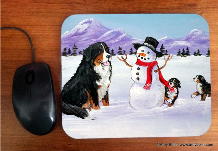 MOUSE PAD · OUR SNOWY FRIEND · BERNESE MOUNTAIN DOG   · AMY BOLIN
