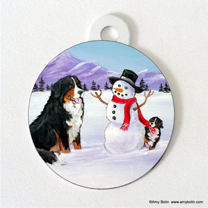 DOUBLE SIDED PET ID TAG · OUR SNOWY FRIEND · BERNESE MOUNTAIN DOG · AMY BOLIN