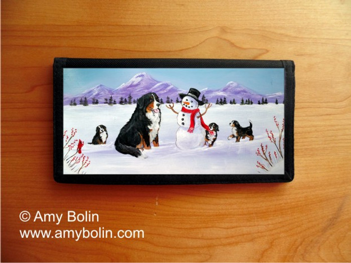 CHECKBOOK COVER · OUR SNOWY FRIEND · BERNESE MOUNTAIN DOG · AMY BOLIN