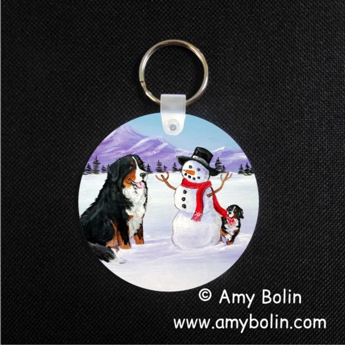 KEY CHAIN · OUR SNOWY FRIEND · BERNESE MOUNTAIN DOG  · AMY BOLIN
